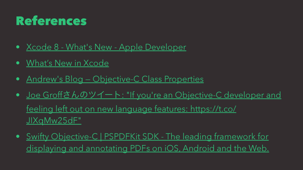 References • Xcode 8 - What's New - Apple Devel...