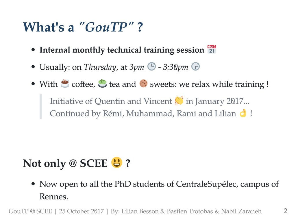 """What's a """"GouTP"""" ? Internal monthly technical t..."""