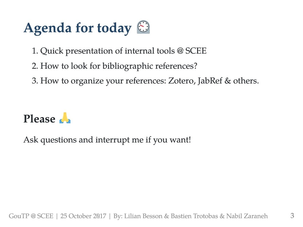 Agenda for today 1. Quick presentation of inter...