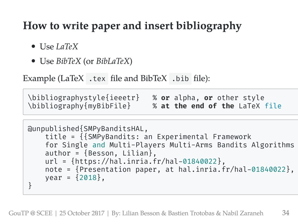 How to write paper and insert bibliography Use ...