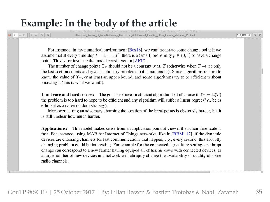 Example: In the body of the article GouTP @ SCE...