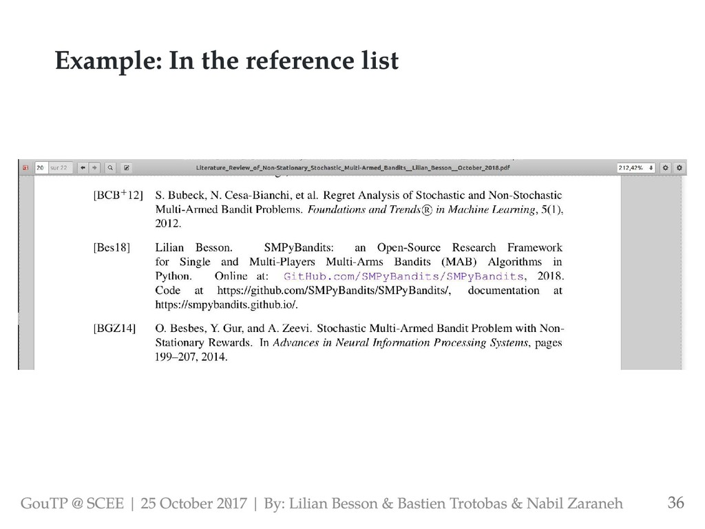 Example: In the reference list GouTP @ SCEE | 2...