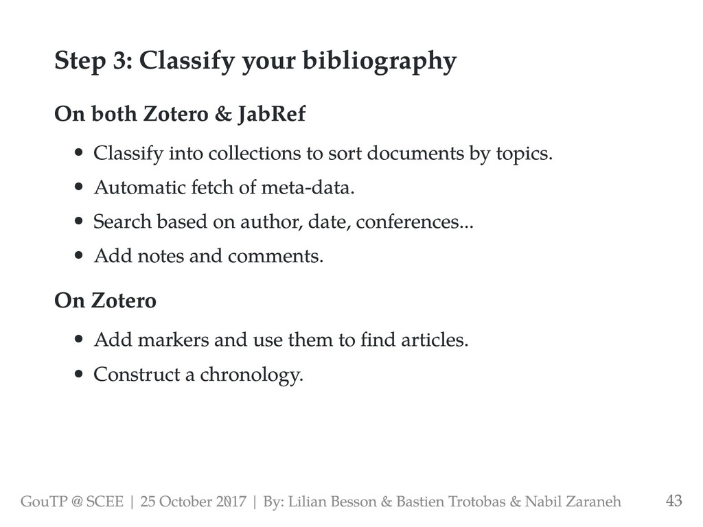 Step 3: Classify your bibliography On both Zote...
