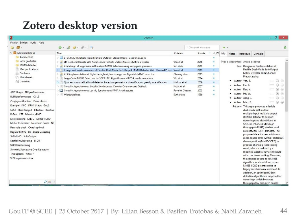 Zotero desktop version GouTP @ SCEE | 25 Octobe...