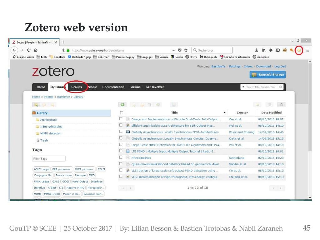 Zotero web version GouTP @ SCEE | 25 October 2...