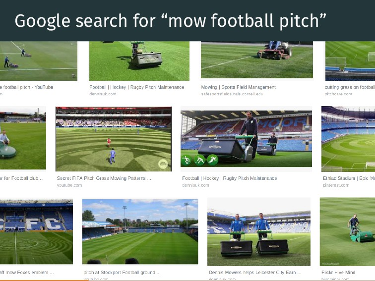"""Google search for """"mow football pitch"""""""