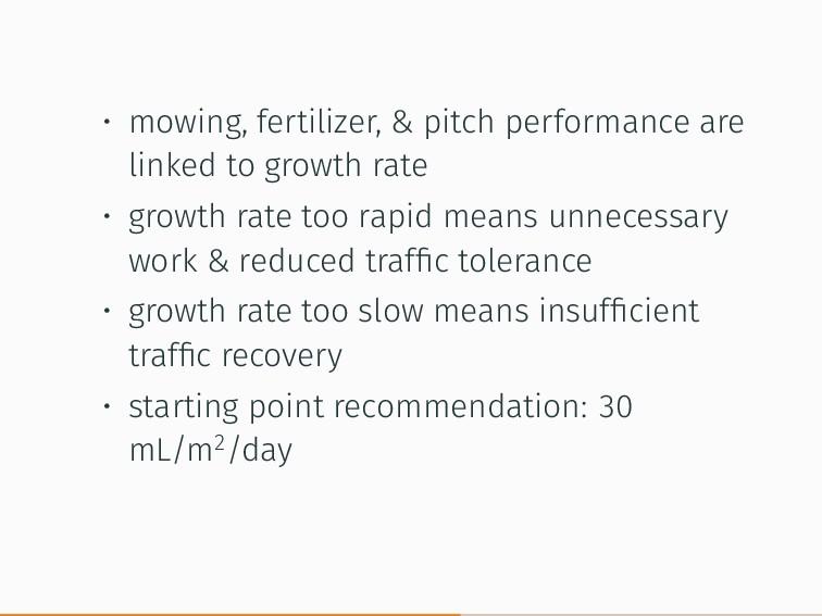 • mowing, fertilizer, & pitch performance are l...