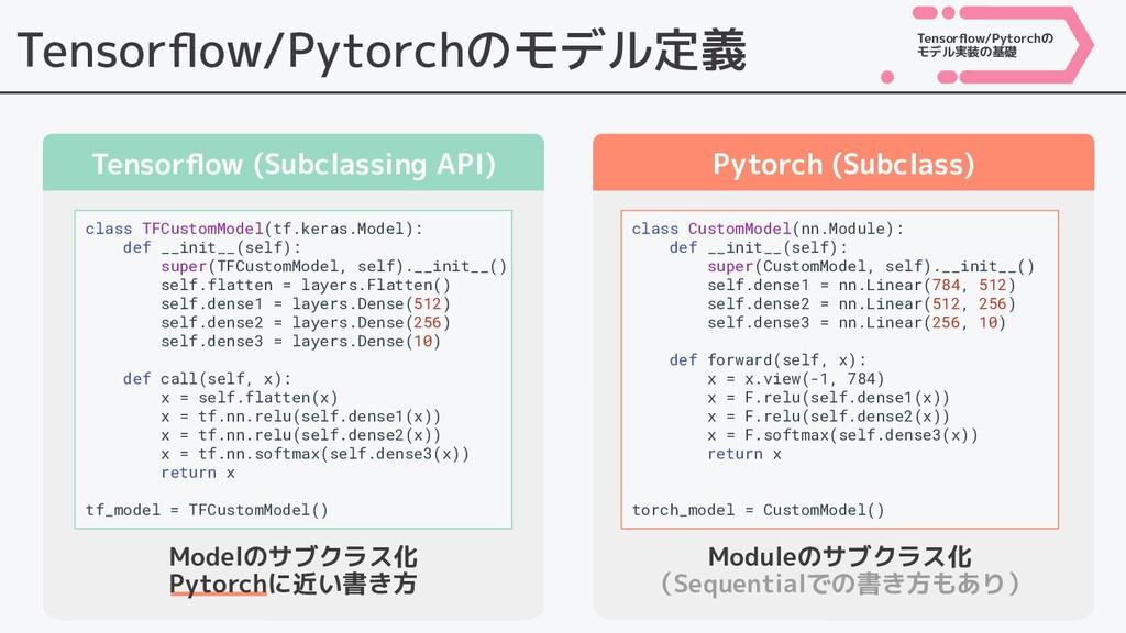Tensorflow/Pytorchのモデル定義 Tensorflow (Subclassing ...