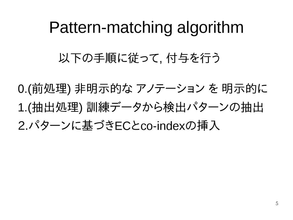 5 Pattern-matching algorithm 以下の手順に従って, 付与を行う 0...