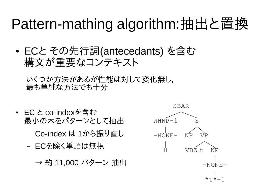 7 Pattern-mathing algorithm:抽出と置換 ● ECと その先行詞(a...
