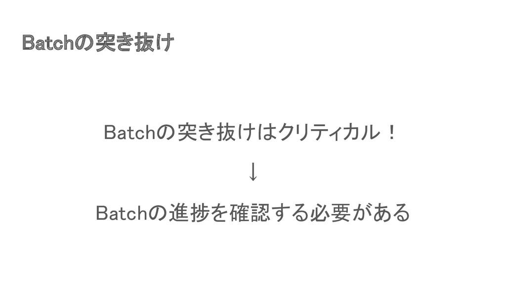 Batchの突き抜け Batchの突き抜けはクリティカル! ↓ Batchの進捗を確認す...