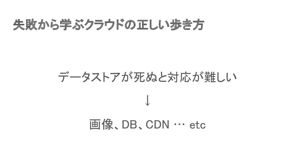 失敗から学ぶクラウドの正しい歩き方 データストアが死ぬと対応が難しい ↓ 画像、DB、C...