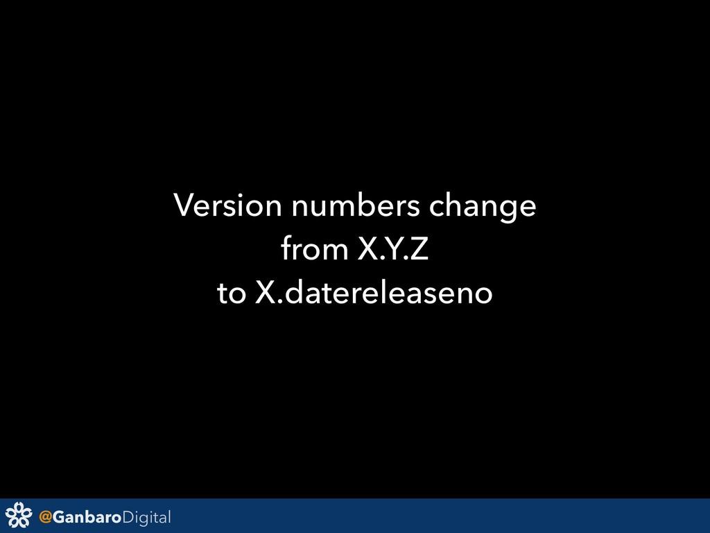 @GanbaroDigital Version numbers change from X.Y...