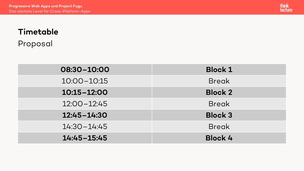 Proposal 08:30–10:00 Block 1 10:00–10:15 Break ...