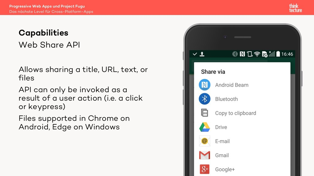 Web Share API Allows sharing a title, URL, text...