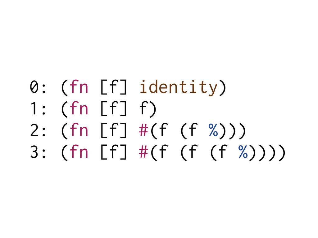 0: (fn [f] identity) 1: (fn [f] f) 2: (fn [f] #...
