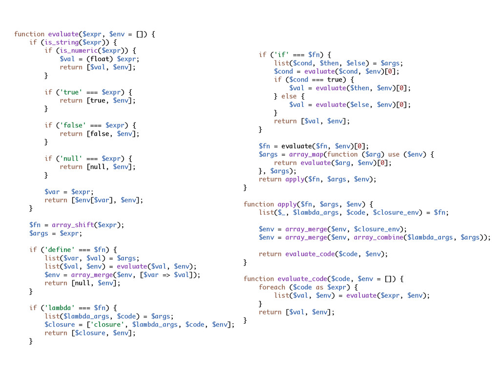 function evaluate($expr, $env = []) { if (is_st...