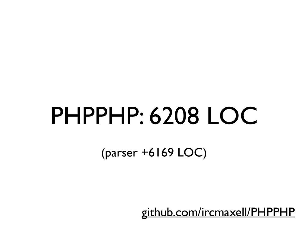 PHPPHP: 6208 LOC github.com/ircmaxell/PHPPHP (p...