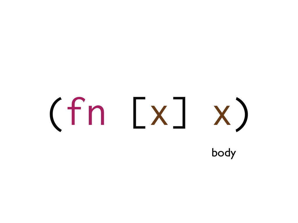 (fn [x] x) body