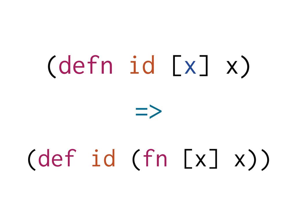 (defn id [x] x) ! (def id (fn [x] x)) =>