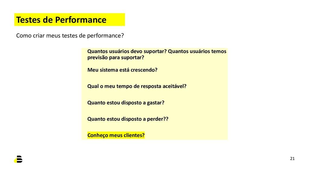 Testes de Performance Como criar meus testes de...