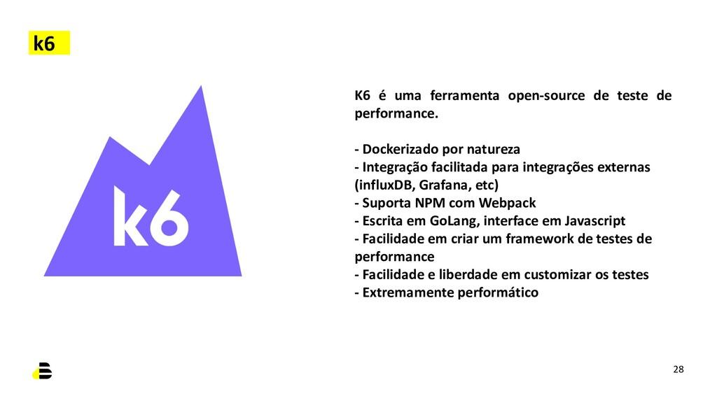 28 K6 é uma ferramenta open-source de teste de ...