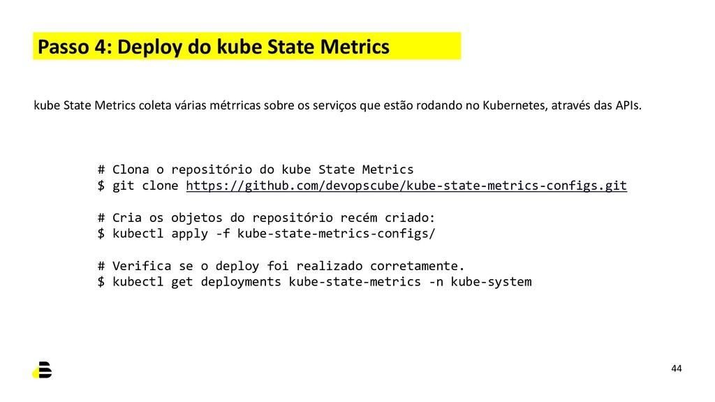 Passo 4: Deploy do kube State Metrics 44 kube S...