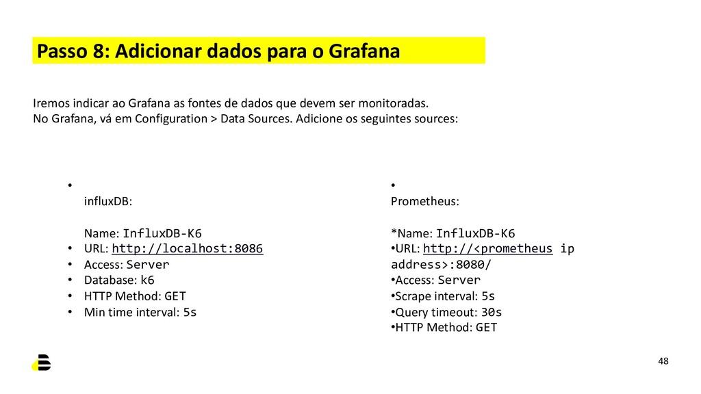 Passo 8: Adicionar dados para o Grafana 48 Irem...