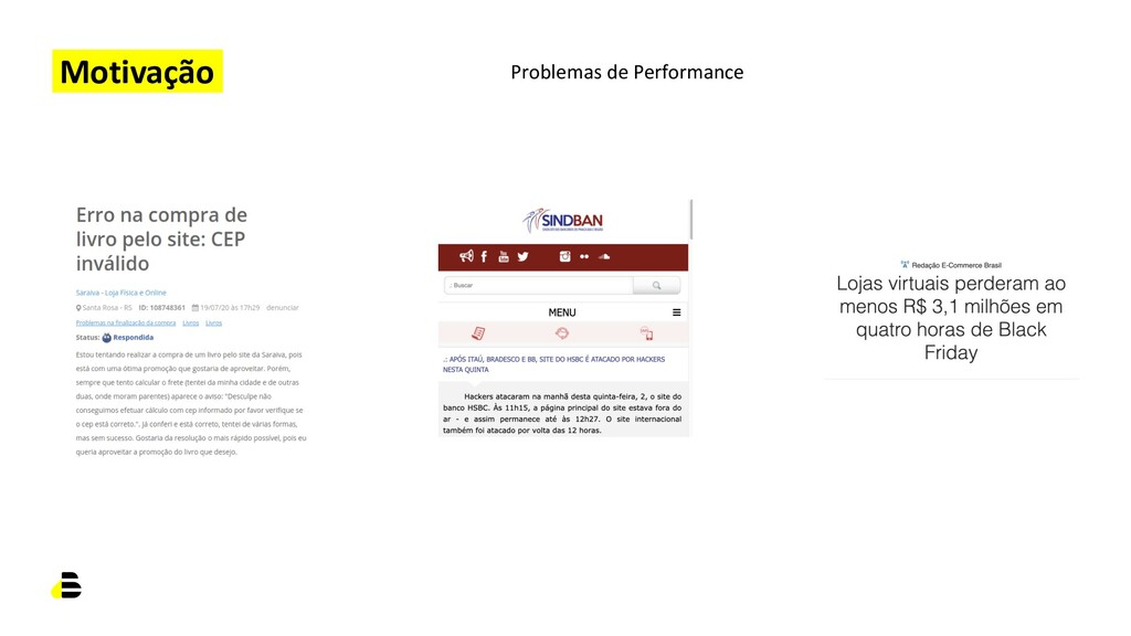 Motivação Problemas de Performance