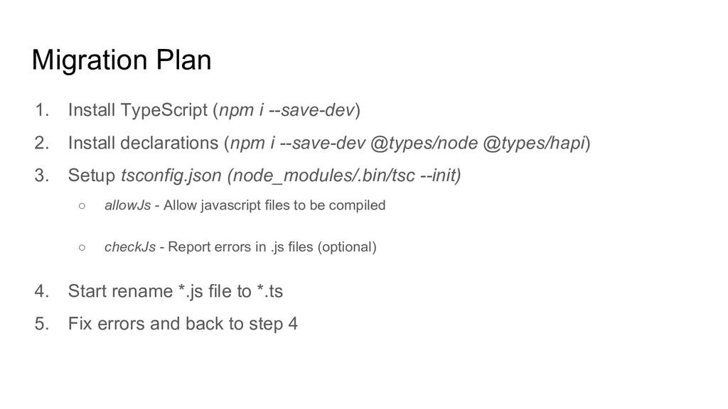 Migration Plan 1. Install TypeScript (npm i --s...