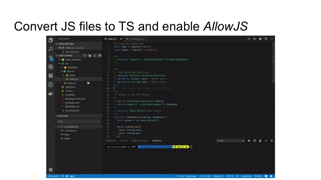Convert JS files to TS and enable AllowJS