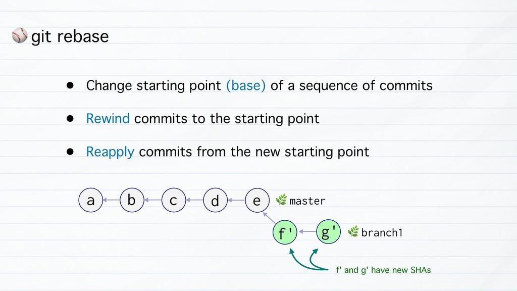 ⚾ git rebase • Change starting point (base) of ...