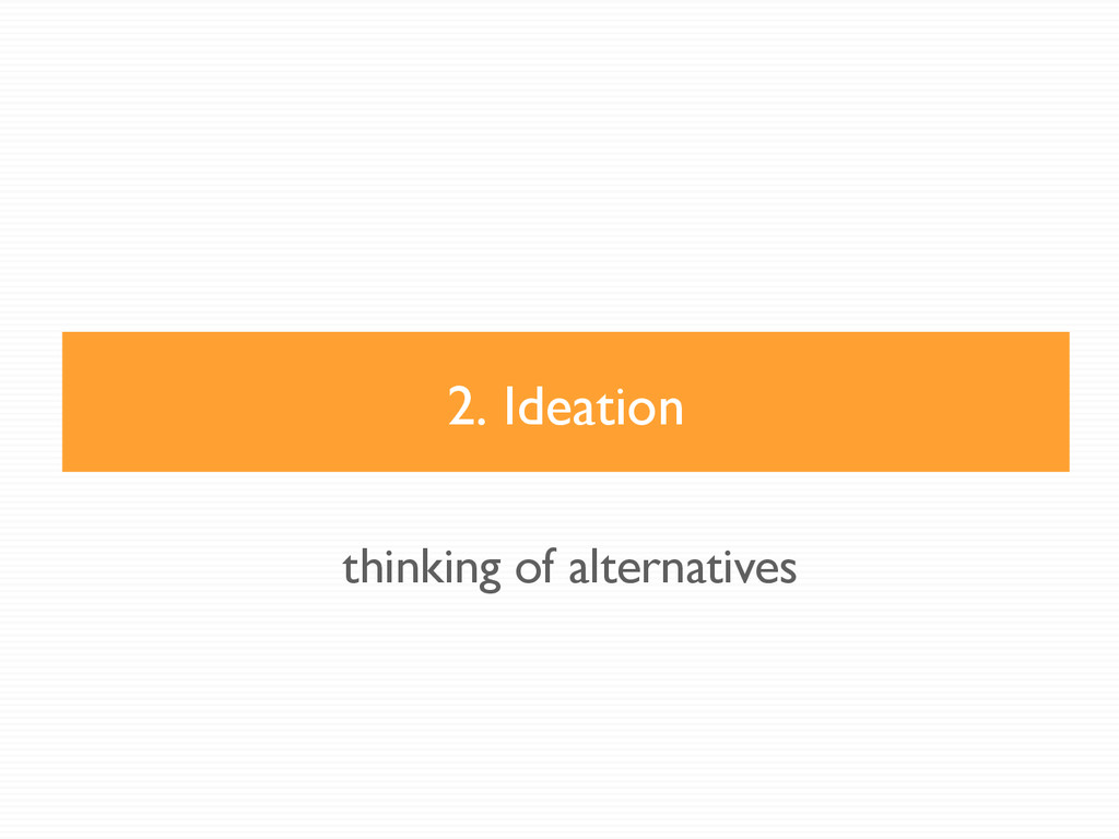 2. Ideation thinking of alternatives