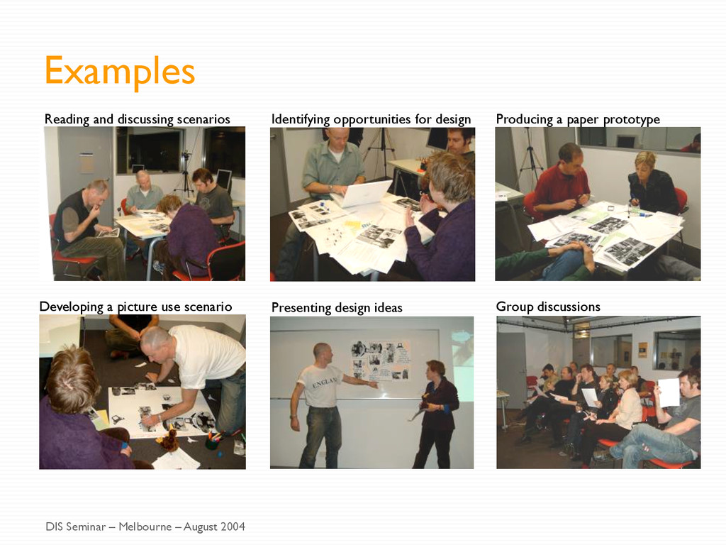 Examples Reading and discussing scenarios Ident...