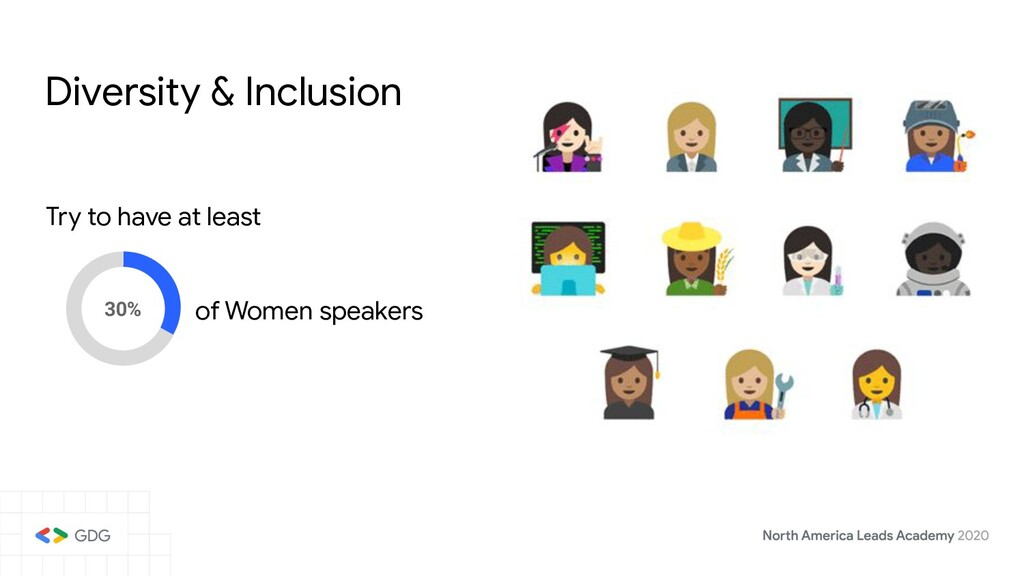 Diversity & Inclusion Try to have at least 30% ...