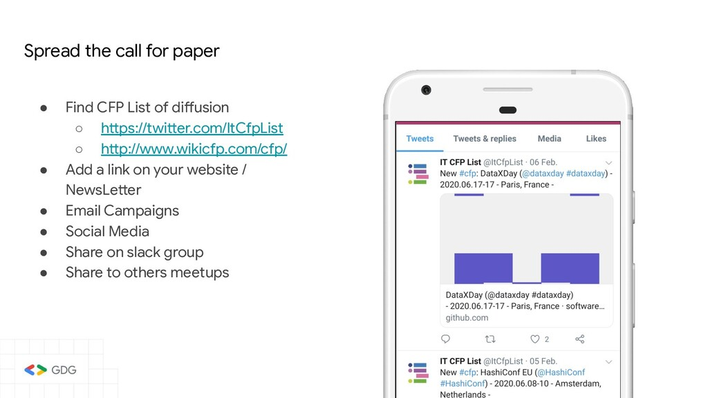 ● Find CFP List of diffusion ○ https://twitter....