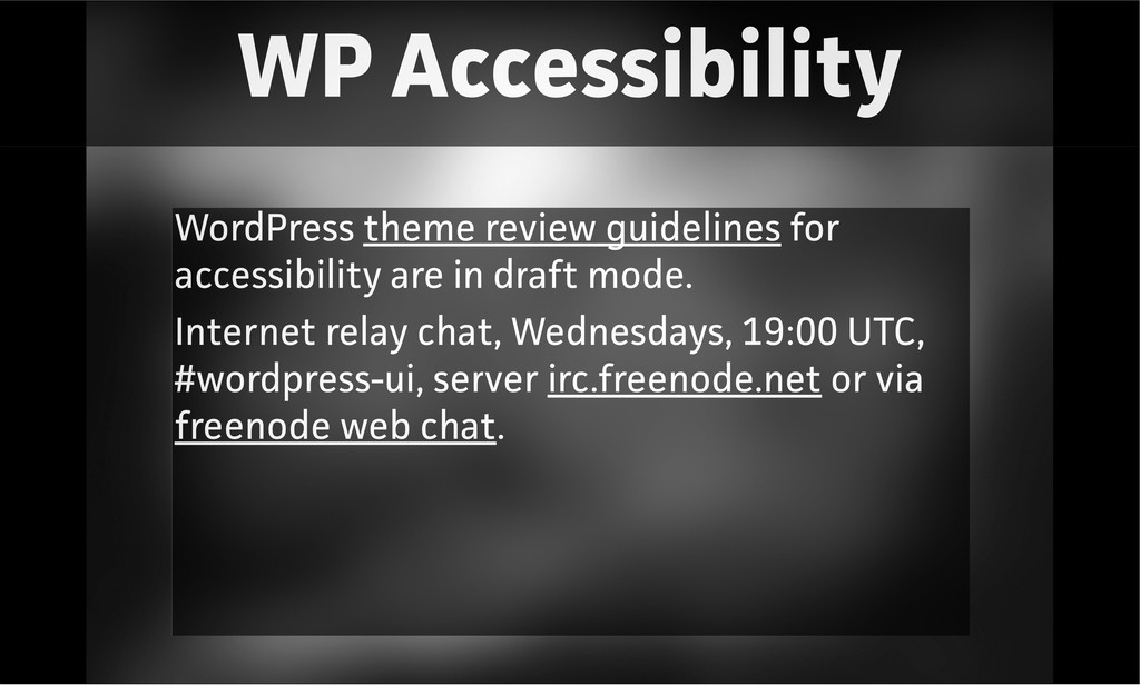 WP Accessibility WordPress theme review guideli...