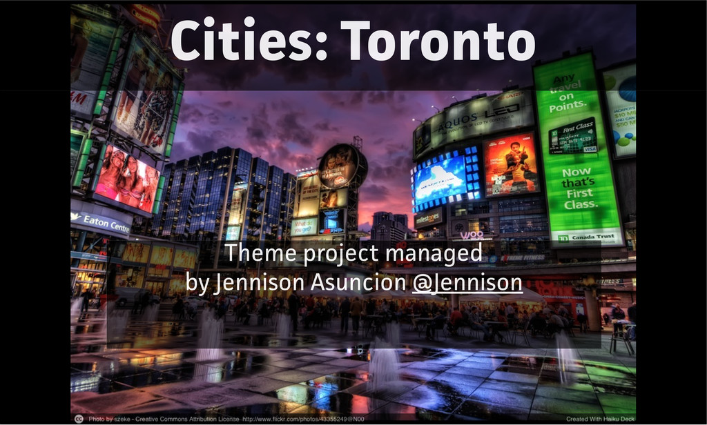 Cities: Toronto Theme project managed by Jennis...