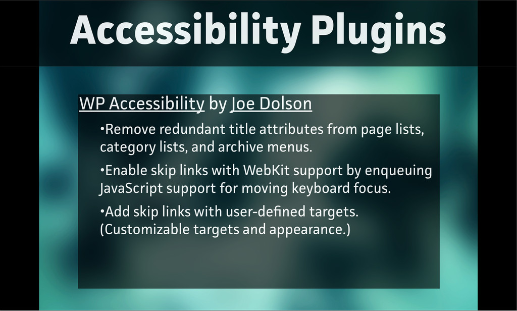 Accessibility Plugins WP Accessibility by Joe D...