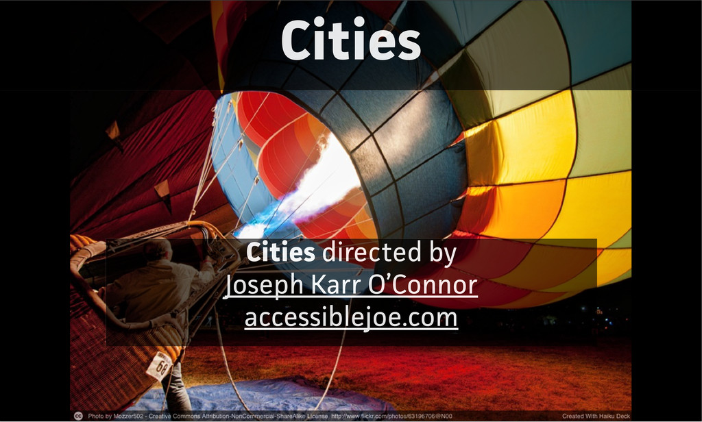 Cities Cities directed by Joseph Karr O'Connor ...