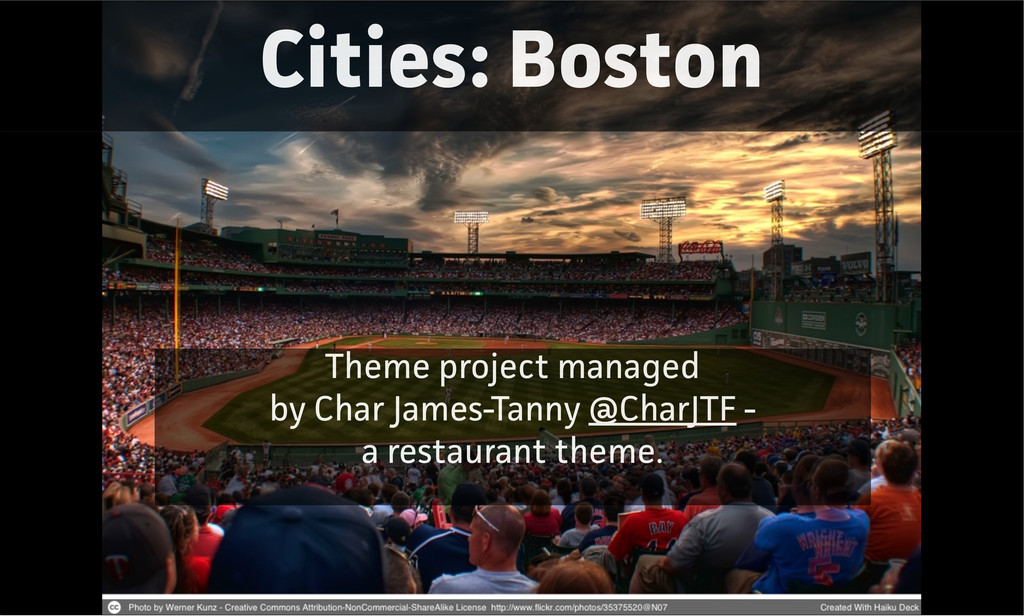 Cities: Boston Theme project managed by Char Ja...