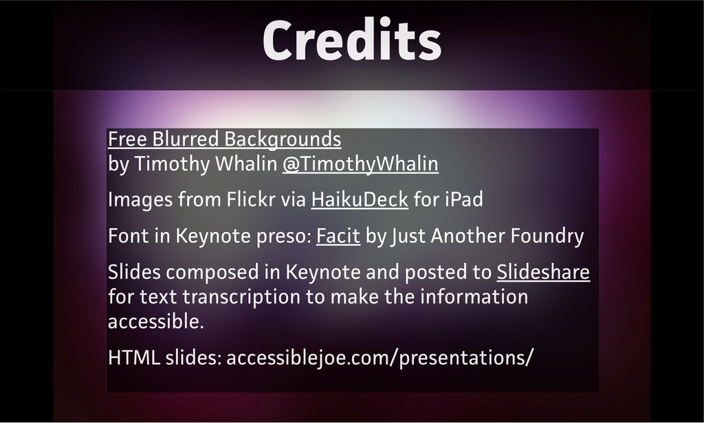 Credits Free Blurred Backgrounds by Timothy Wha...