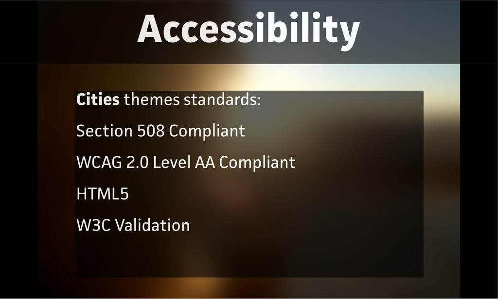 Accessibility Cities themes standards: Section ...
