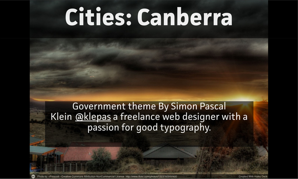 Cities: Canbera Government theme By Simon Pasc...