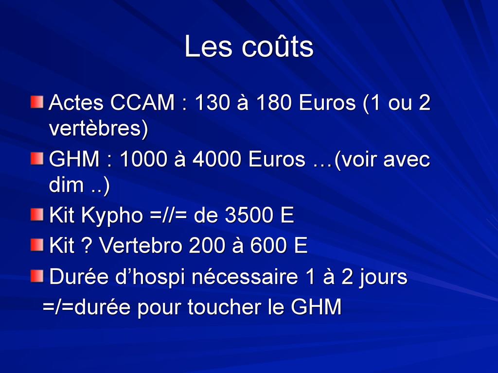 Les coûts Actes CCAM : 130 à 180 Euros (1 ou 2 ...