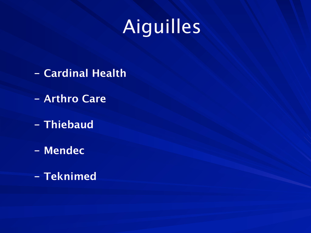 Aiguilles  - Cardinal Health  - Arthro Care ...