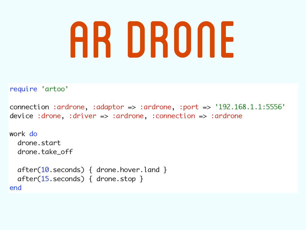 require 'artoo'  connection :ardrone, :adapto...