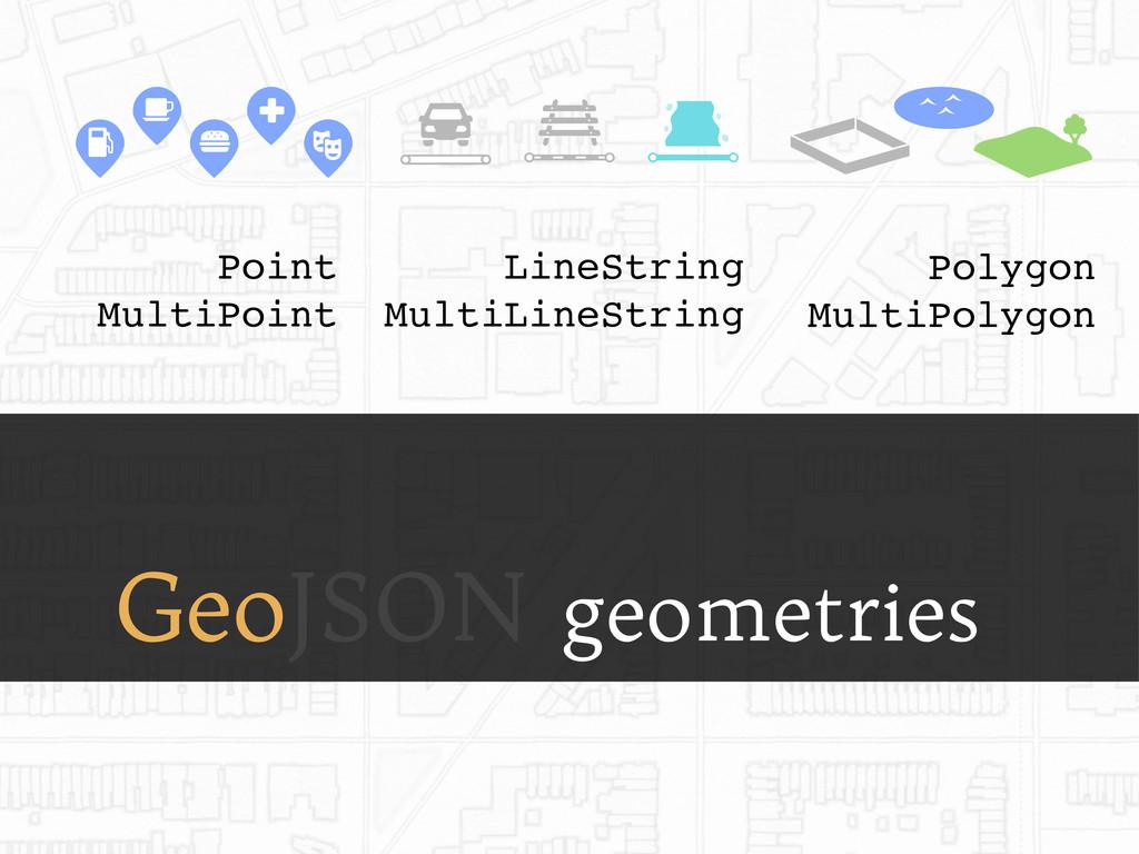GeoJSON geometries Point MultiPoint LineString ...