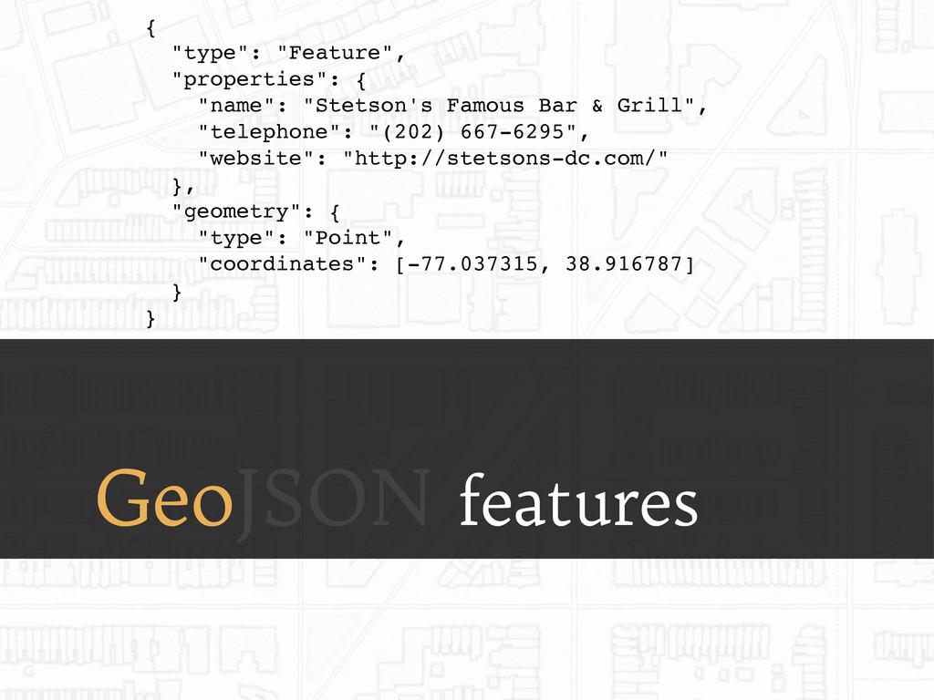"GeoJSON features { ""type"": ""Feature"", ""properti..."
