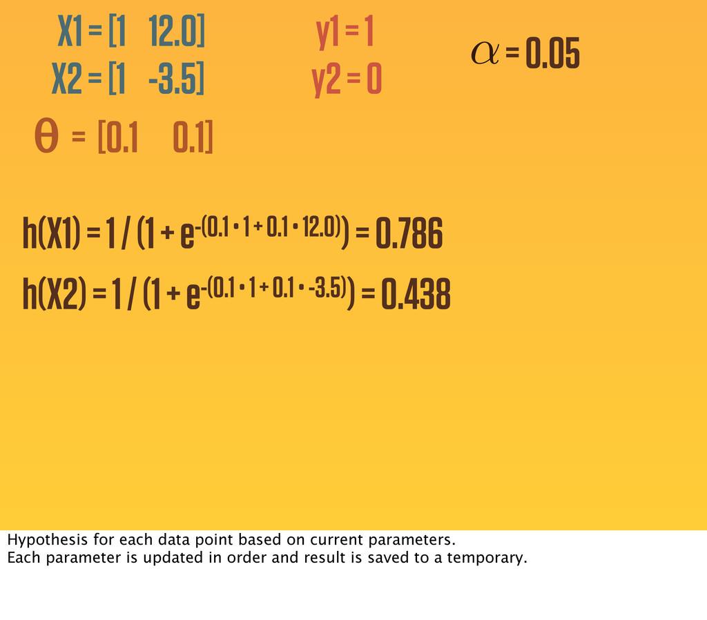 y1 = 1 y2 = 0 h(X1) = 1 / (1 + e-(0.1 • 1 + 0.1...